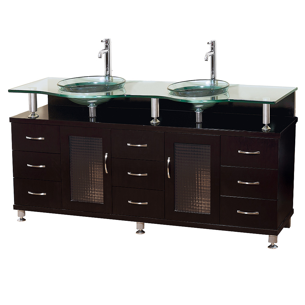 Charlton 60 Double Bathroom Vanity With Glass Countertop And Mirror Espresso W Clear Or Frosted Glass Counter