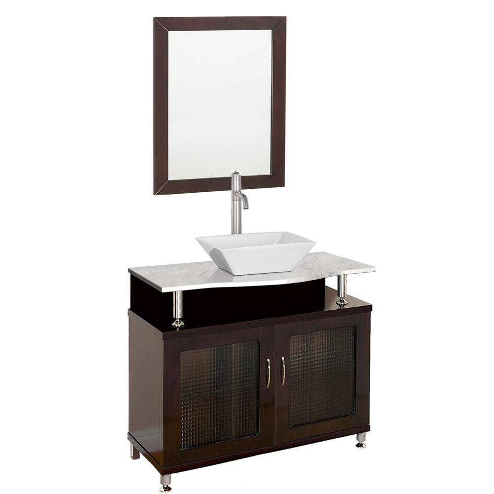 Accara 36 bathroom vanity doors only espresso w white carrera marble counter free Modern bathroom north hollywood