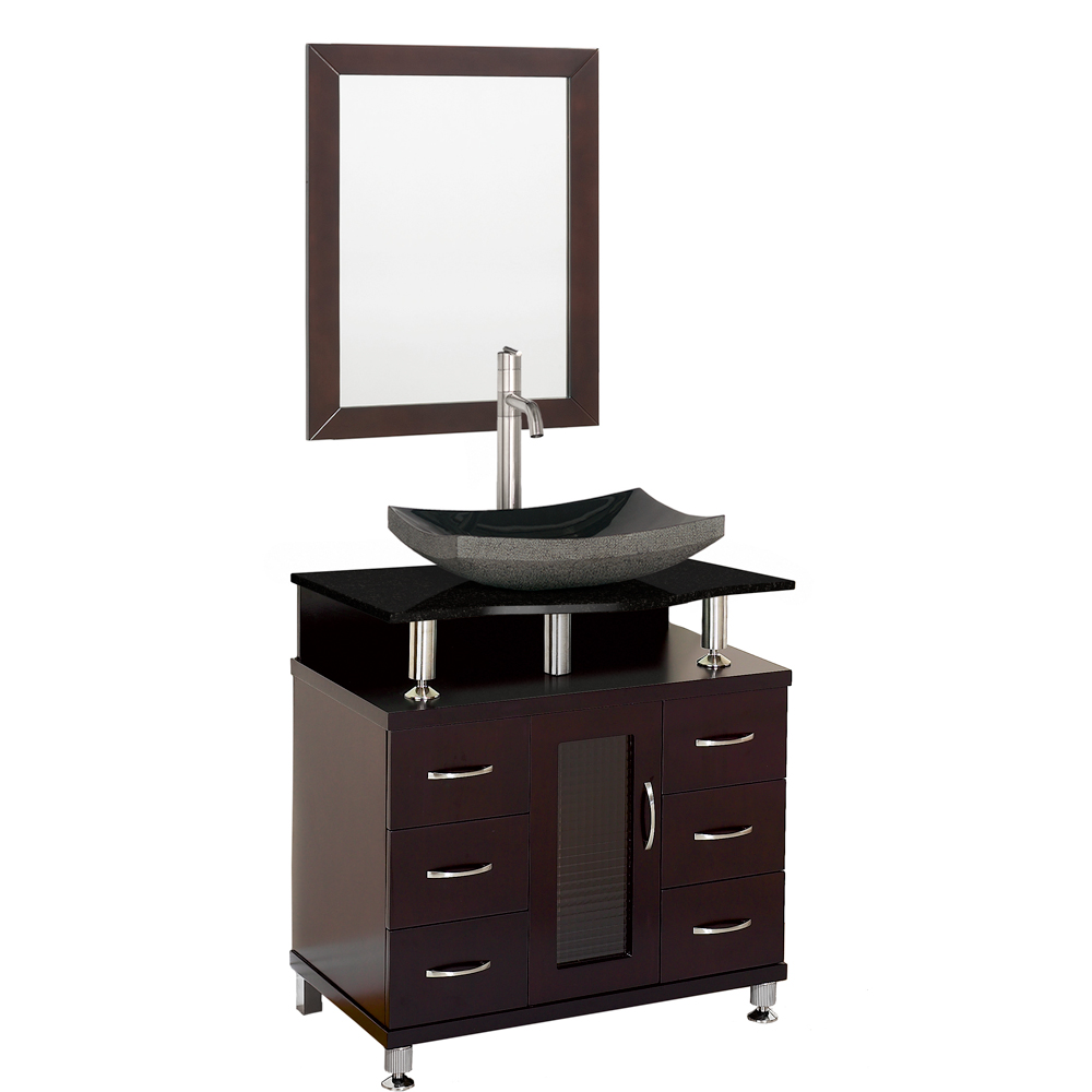 Accara 30 bathroom vanity espresso w black granite for Modern black bathroom vanity
