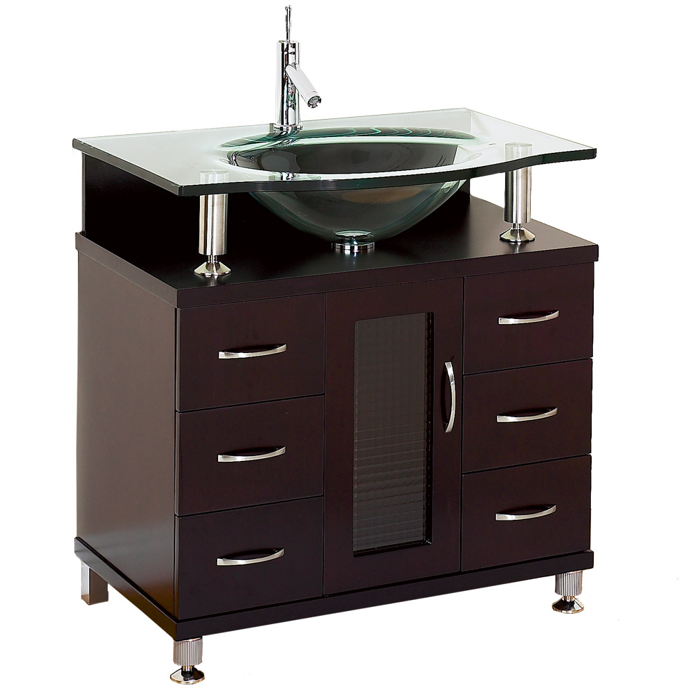 Accara 30 bathroom vanity espresso w clear or frosted for Bathroom vanity tops for sale