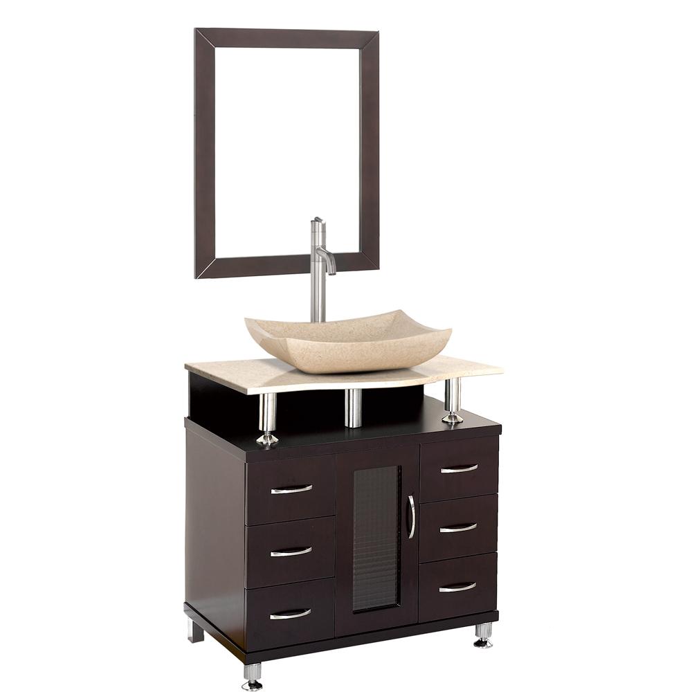 Accara 30 bathroom vanity espresso w ivory marble for 30 modern bathroom vanity