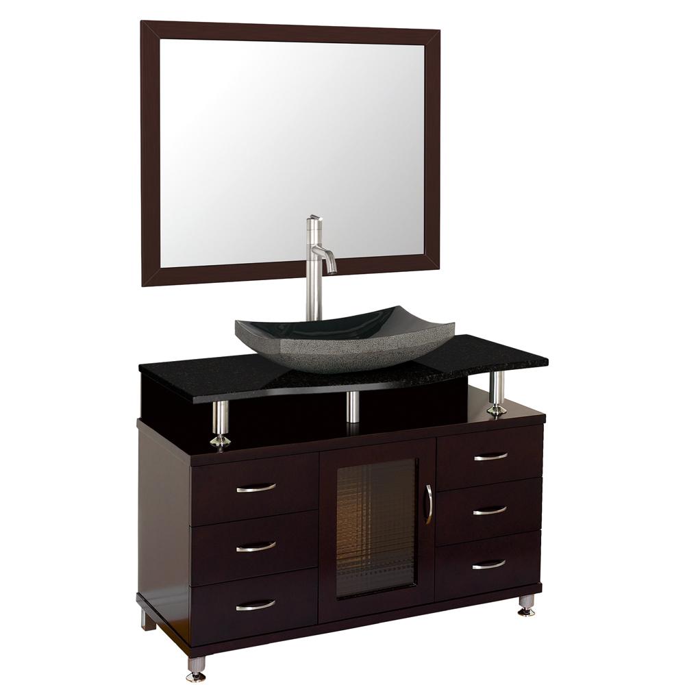 Accara 42 bathroom vanity with drawers espresso w for Black bathroom drawers