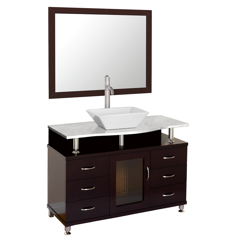 Accara 42 Quot Bathroom Vanity With Drawers Espresso W White Carrera Marble Counter