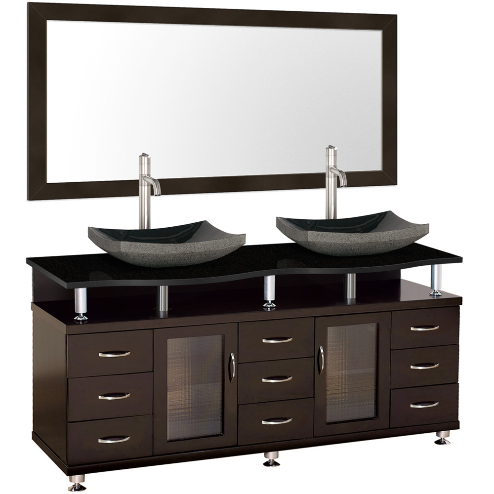 Accara 72 Double Bathroom Vanity With Mirror Espresso W Black Granite Counter Free