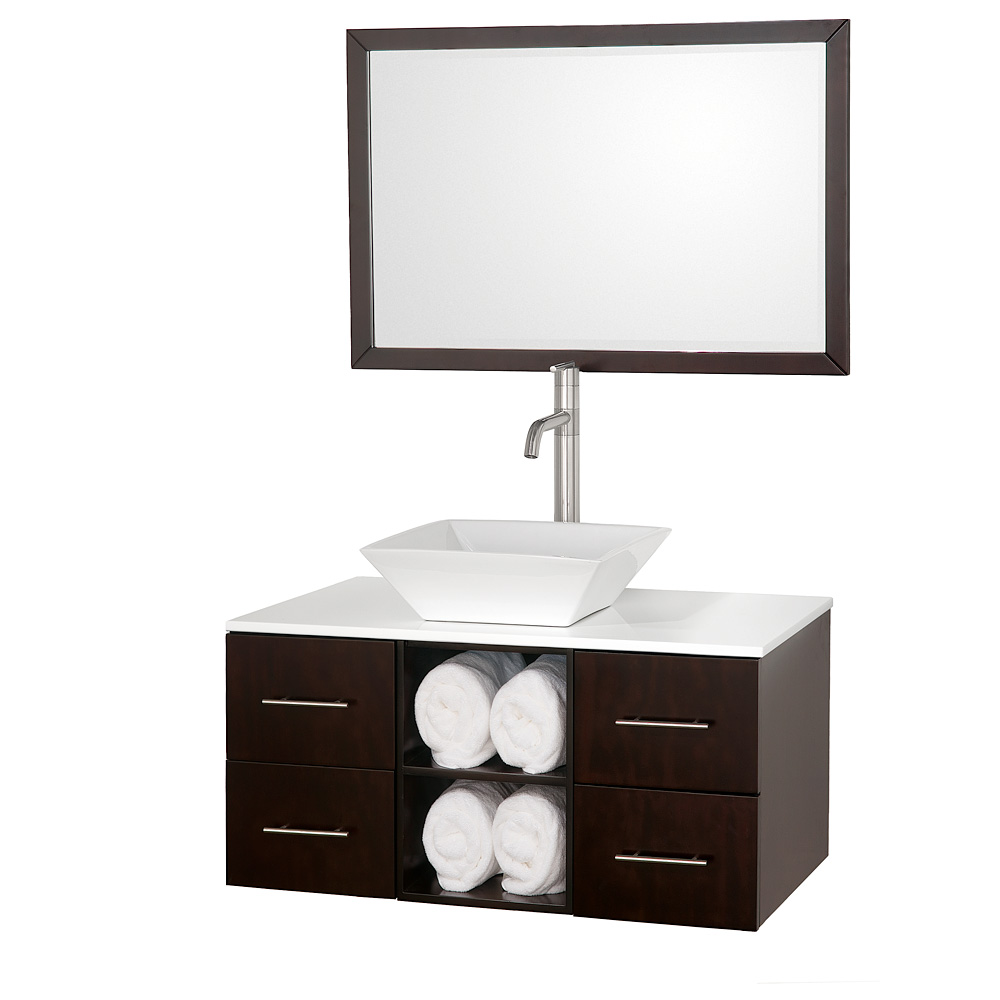 Abba 36 vanity set by wyndham collection espresso free shipping modern bathroom for Wyndham bathroom wall cabinet