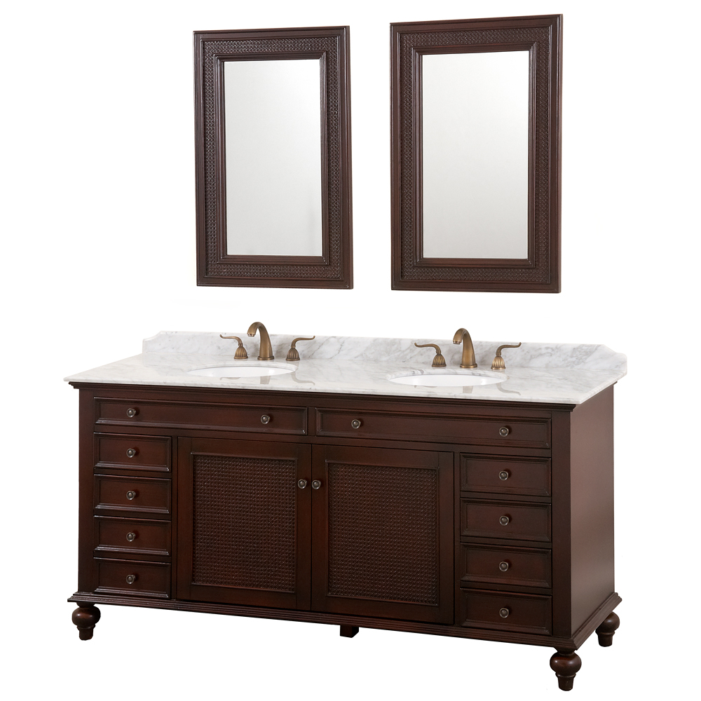Vanity Counter Set : English cane quot double vanity set wenge w white carrera