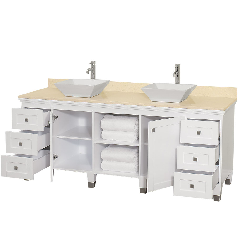 Premiere 72 Bathroom Double Vanity By Wyndham Collection White
