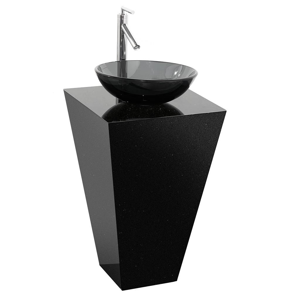 Esprit Custom Bathroom Pedestal Vanity Black Granite W Smoke Glass Sink Free Shipping