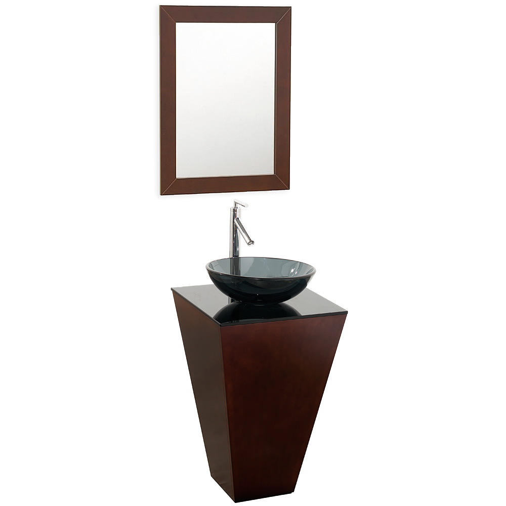 Genial Esprit Bathroom Pedestal Vanity Set By Wyndham Collection   Espresso W/  Smoke Glass Vessel Sink | Free Shipping   Modern Bathroom