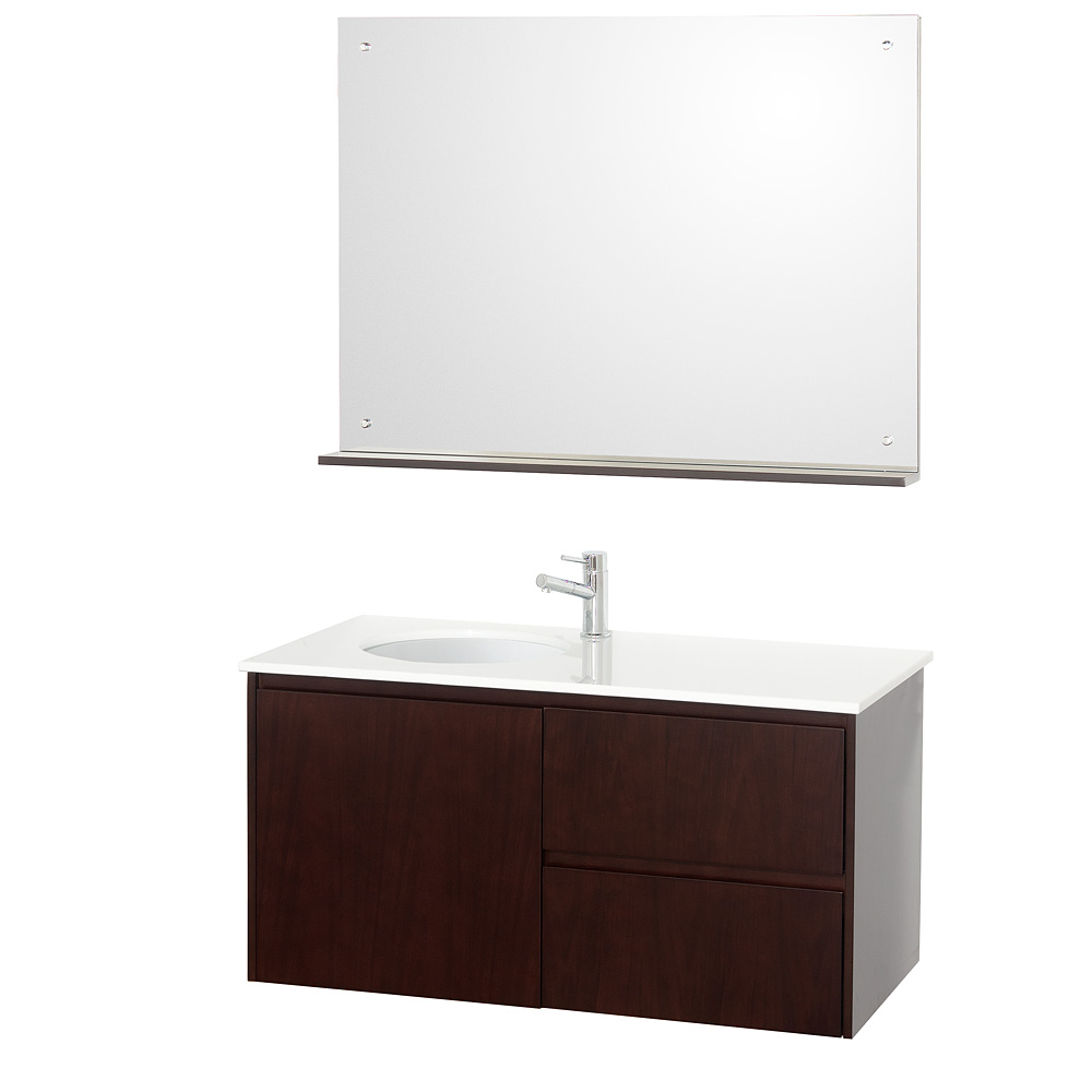 Fellino 42 wall mounted bathroom vanity set espresso for Bathroom vanities