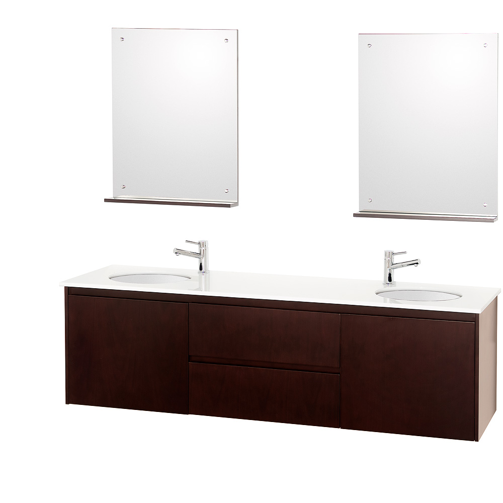 Fellino 72 Wall Mounted Double Bathroom Vanity Set Espresso Free Shipping Modern Bathroom