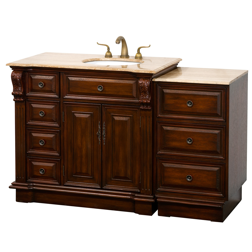 """Nottingham 55"""" Traditional Single Bathroom Vanity with Drawers on Left - Antique Brown   Free ..."""