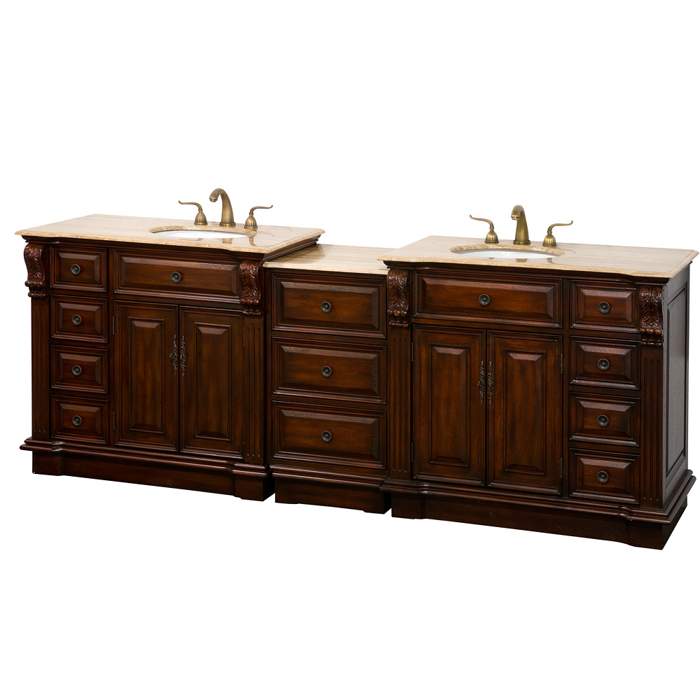 "Nottingham 92"" Traditional Double Bathroom Vanity - Antique Brown"