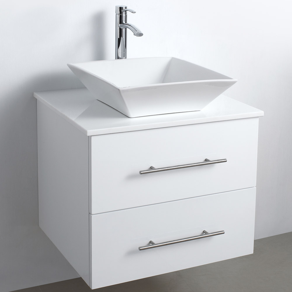 24 quot wall mounted modern bathroom vanity white