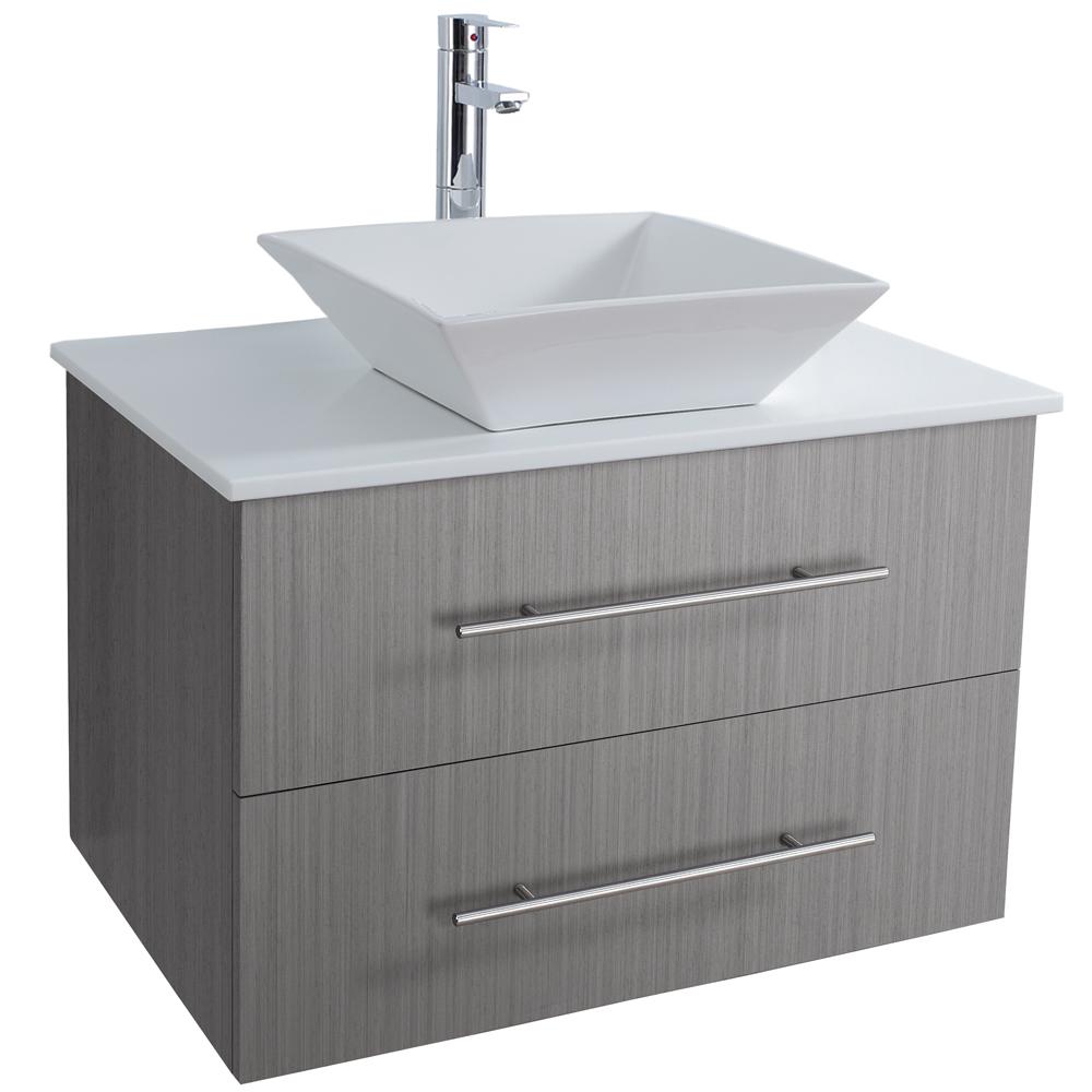 Bianca 30 wall mounted modern bathroom vanity gray oak for 30 modern bathroom vanity