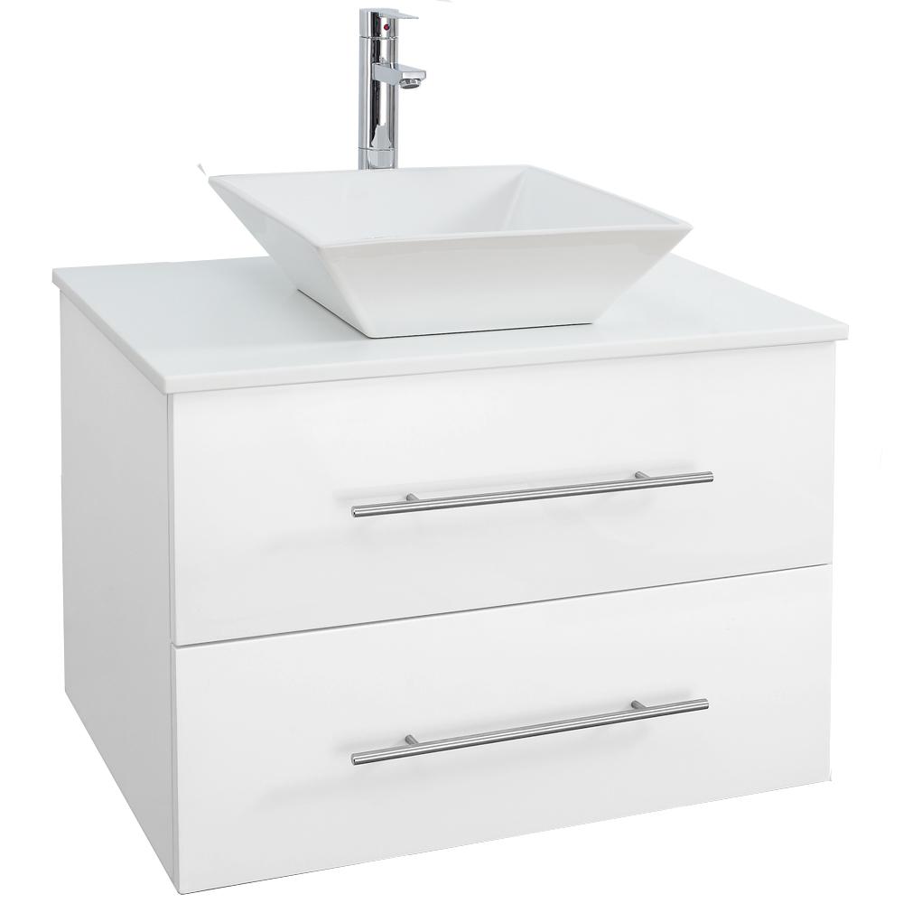 Bianca 30 wall mounted modern bathroom vanity white for 30 modern bathroom vanity