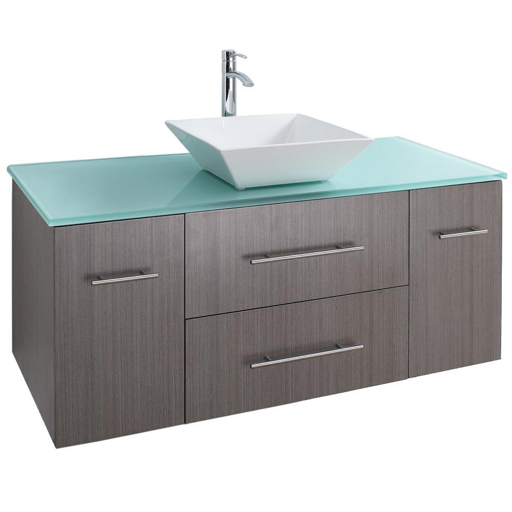 Bianca 48 Wall Mounted Modern Bathroom Vanity Gray Oak