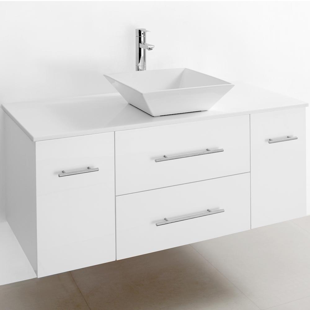 Bianca 48 Wall Mounted Modern Bathroom Vanity White