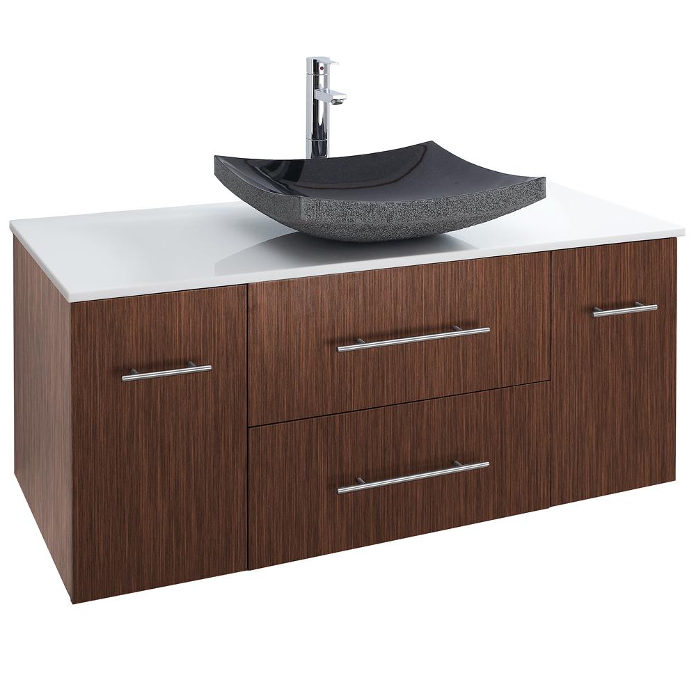 Bianca 48 wall mounted modern bathroom vanity zebrawood free shipping modern bathroom for Bathroom vanities under 500
