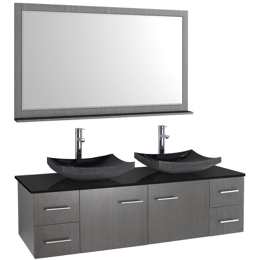 "bianca 60"" wallmounted double bathroom vanity  gray oak"