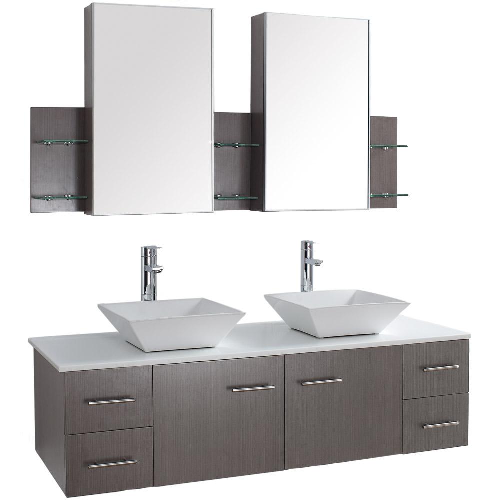 Bianca 60 Wall Mounted Double Bathroom Vanity Gray Oak