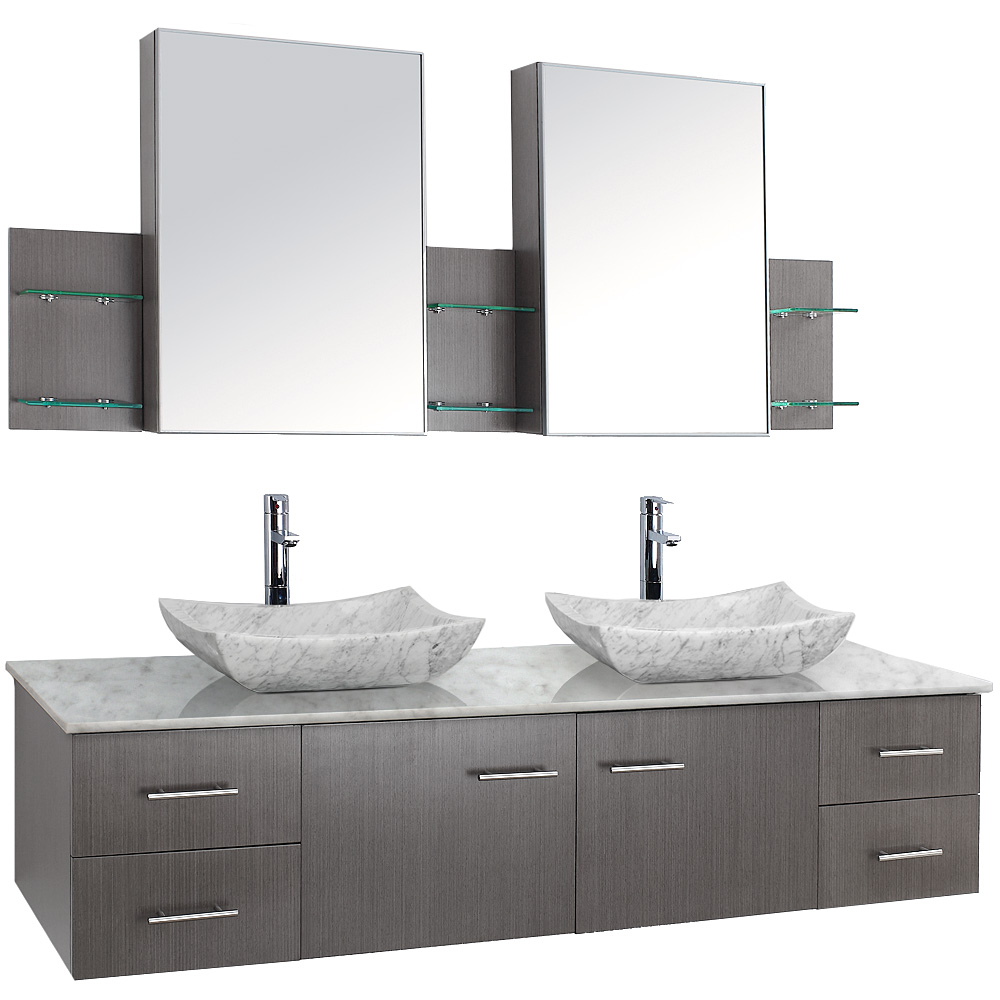 Bianca 72 Quot Wall Mounted Double Bathroom Vanity Gray Oak