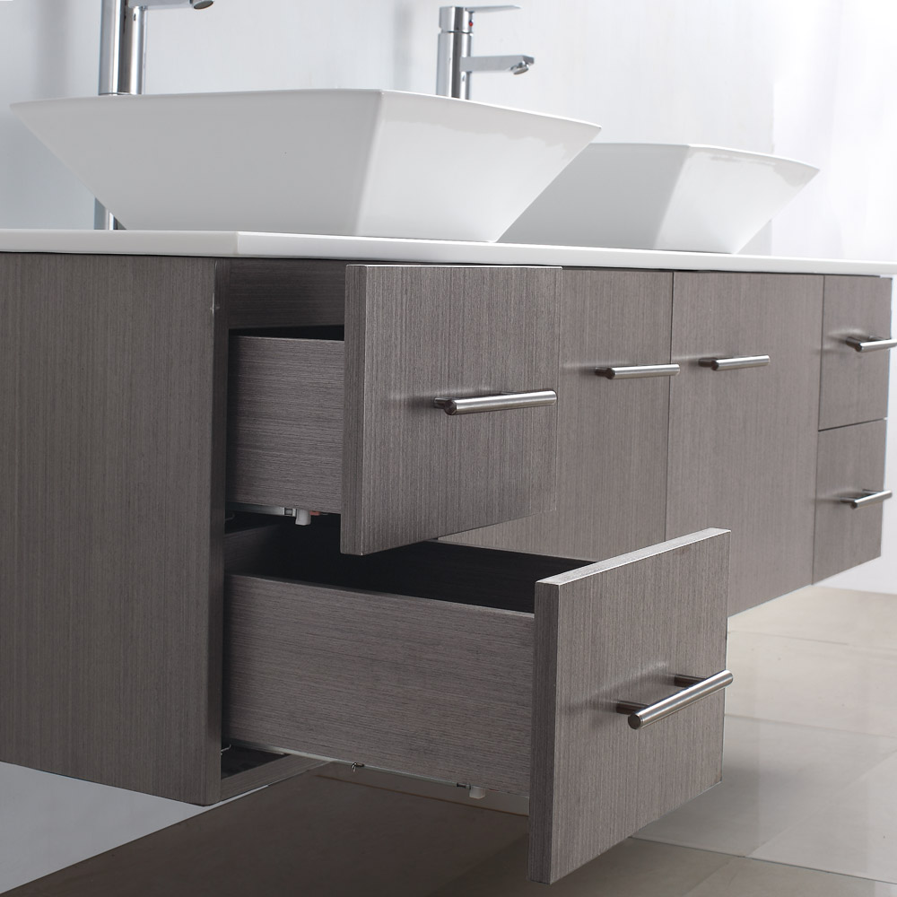Bianca 72 Wall Mounted Double Bathroom Vanity Gray Oak Finish With Black Granite Countertop