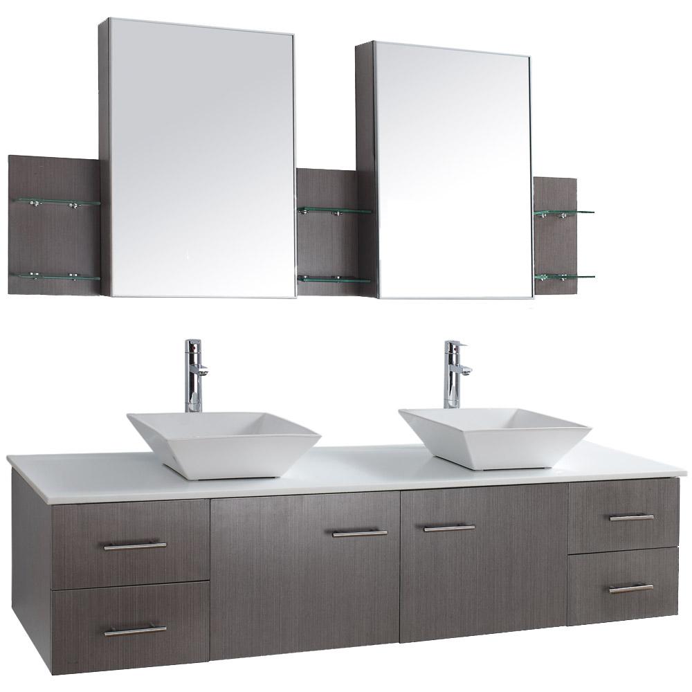 "bianca 72"" wall-mounted double bathroom vanity - gray oak   free shipping - modern bathroom"