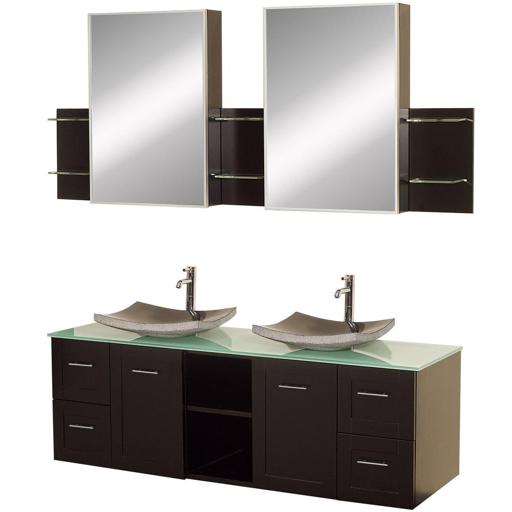 Double bathroom vanity - Avara 60 Wall Mounted Double Bathroom Vanity Set By Wyndham Collection Espresso Free Shipping Modern Bathroom