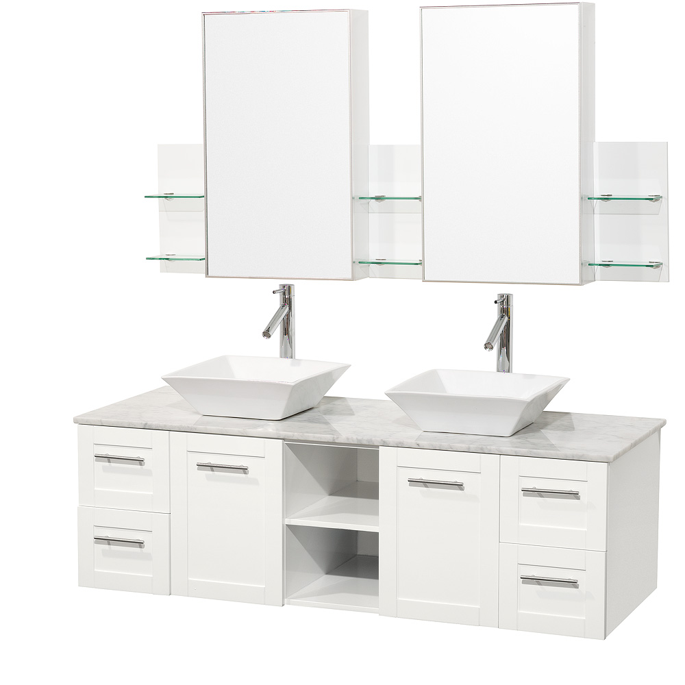 Avara 60 Quot Shaker Wall Mounted Double Bathroom Vanity Set