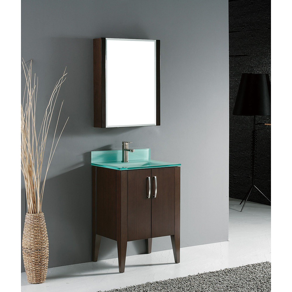 Madeli Caserta 24 Quot Bathroom Vanity With Glass Basin Walnut Free Shipping Modern Bathroom