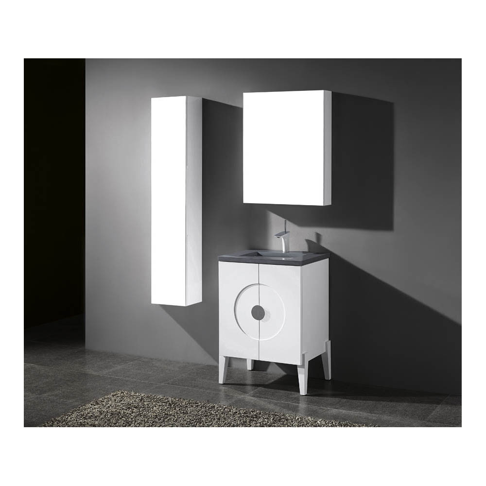 Madeli genova 24 bathroom vanity for quartzstone top for 24 white bathroom vanity with top