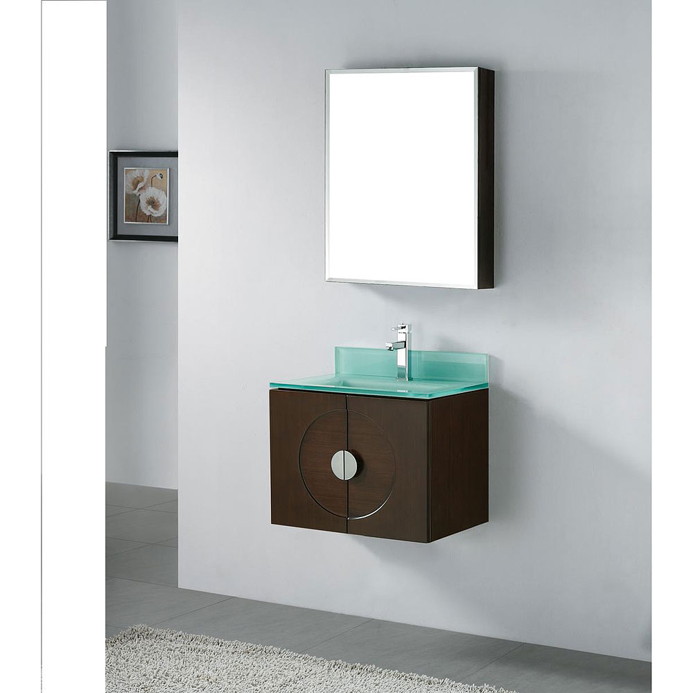 Madeli palermo 24 bathroom vanity with glass basin for Modern glass bathroom