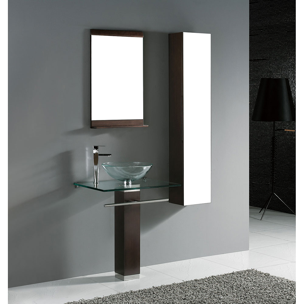 Madeli rimini 24 glass top bathroom vanity walnut for Modern glass bathroom