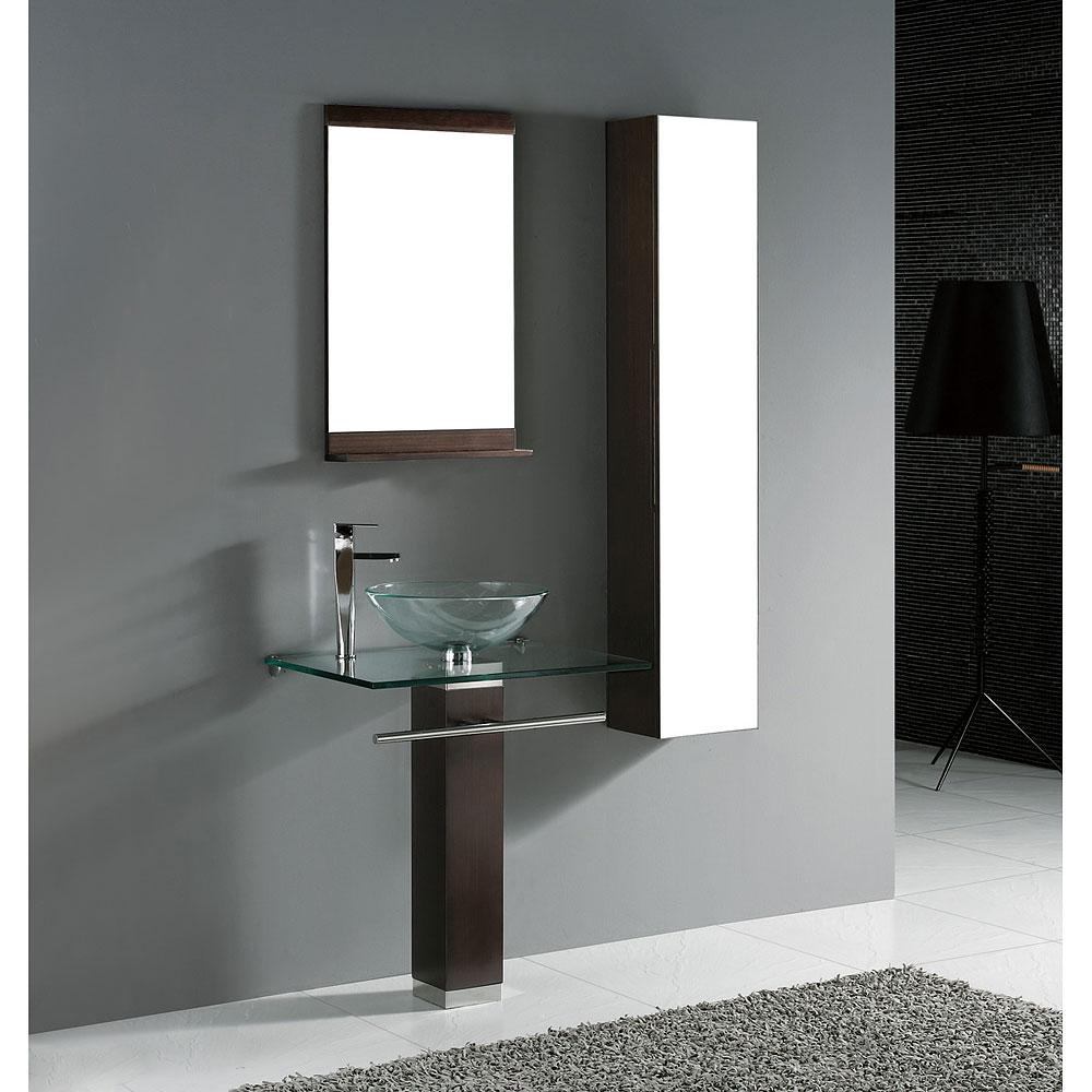Madeli Rimini 24 Quot Glass Top Bathroom Vanity Walnut