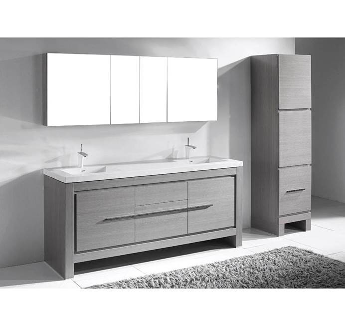 "Madeli Vicenza 72"" Double Bathroom Vanity For X-Stone - Ash Grey B999-72D-001-AG-XSTONE"