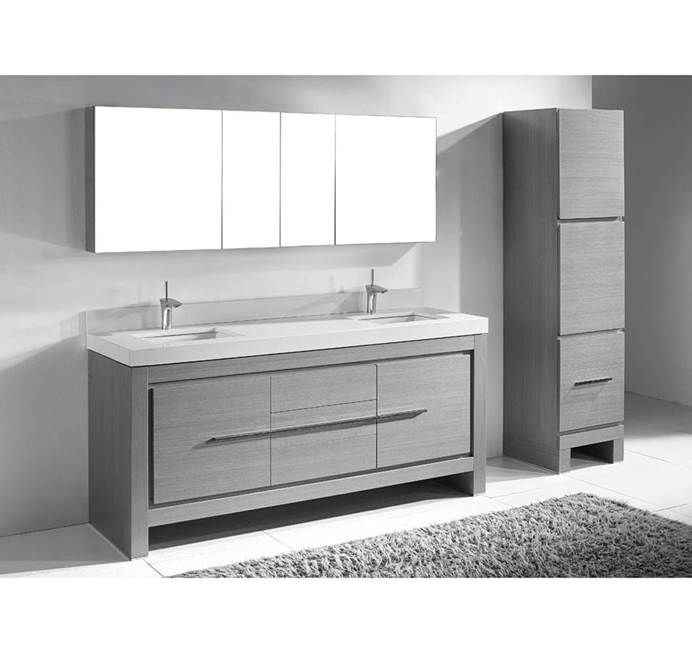 "Madeli Vicenza 72"" Double Bathroom Vanity For Quartzstone Top - Ash Grey B999-72D-001-AG-QUARTZ"