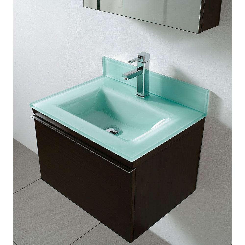 Madeli Venasca 24 Quot Bathroom Vanity With Glass Basin Walnut Free Shipping Modern Bathroom