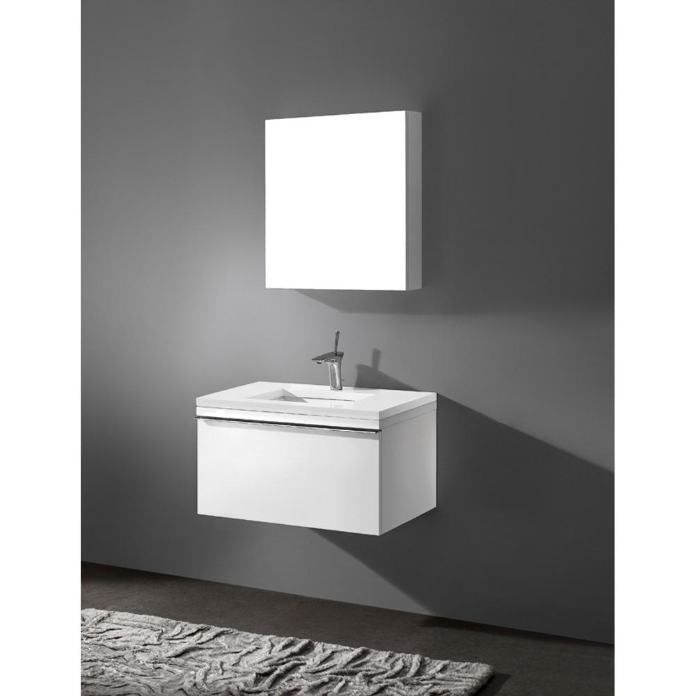 "Madeli Venasca 30"" Bathroom Vanity with Quartzstone Top, Glossy White B990-30-002-GW-QUARTZ by Madeli"