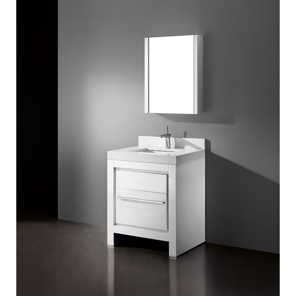 Madeli Vicenza 30 Bathroom Vanity With Quartzstone Top Glossy White Free Shipping Modern