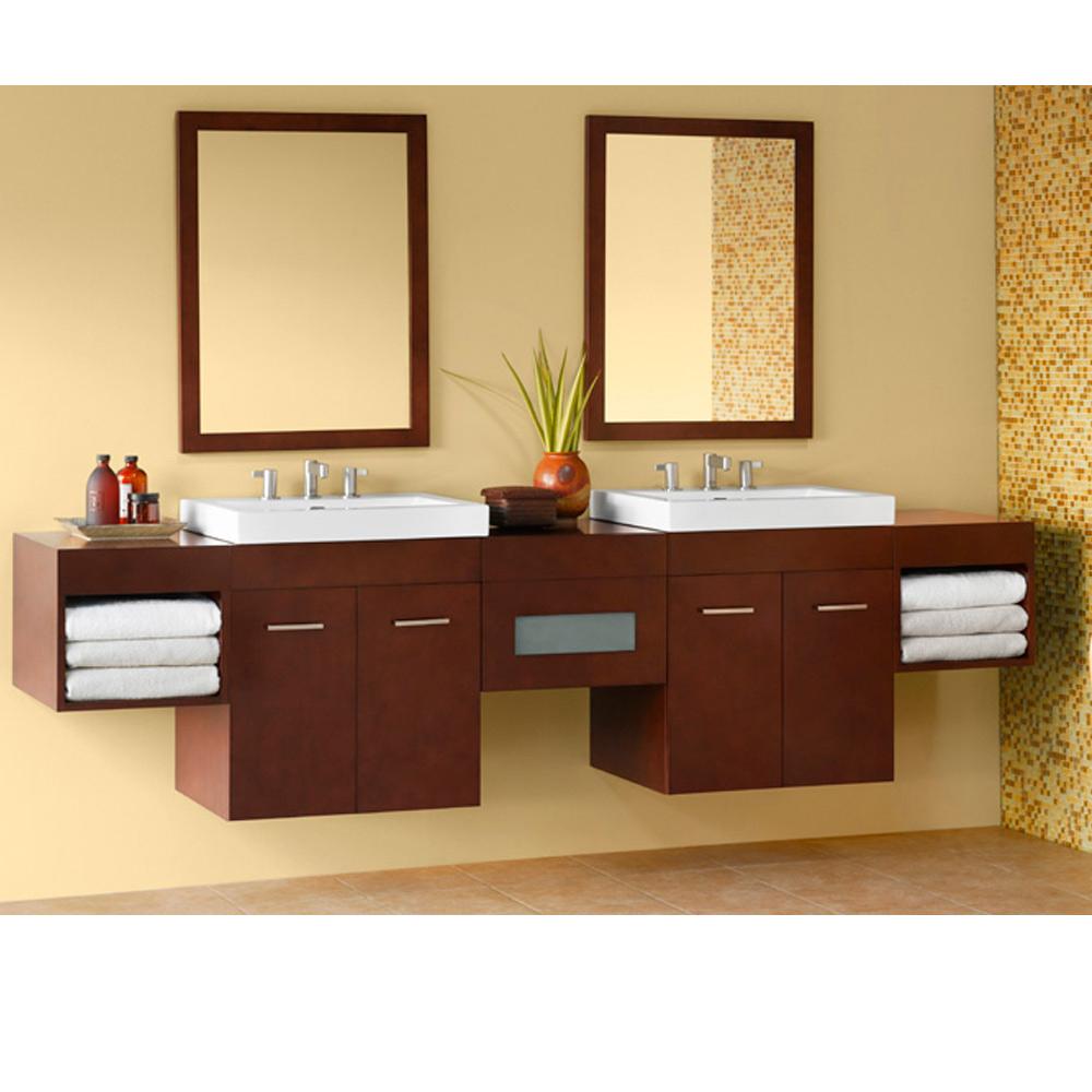 Ronbow Bella 94 Double Vanity Integrated Dark Cherry Free Shipping Modern Bathroom