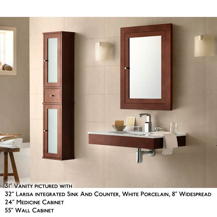 "RONBOW Adina 23"" Vanity Integrated - Dark Cherry RONBOW 015623-H01-INTEGRATED"