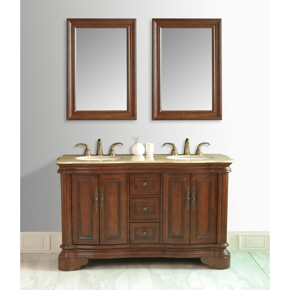 """Bathroom Vanity Colors And Finishes: Stufurhome 58"""" Moscone Double Sink Vanity In Walnut Finish With Travertine Top"""
