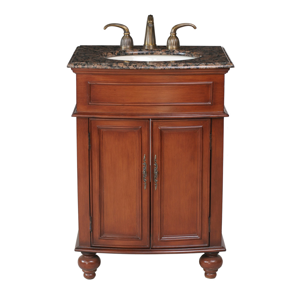 Stufurhome 26 prince single sink vanity with baltic brown for Granite bathroom vanity