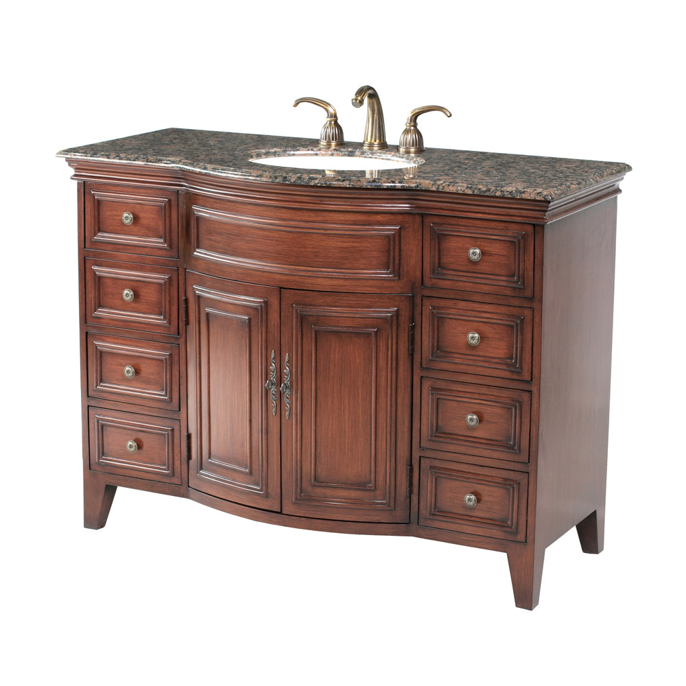 "Modern Antique Traditional Modern Style Cherry Oak 9pc: Stufurhome 48"" Yorktown Single Sink Vanity With Baltic"