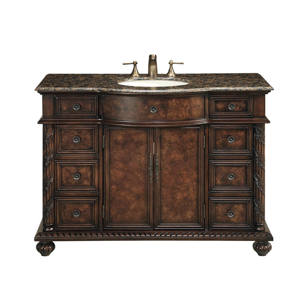 bathroom vanity with brown marble top stufurhome 48 amelia single sink vanity with baltic brown