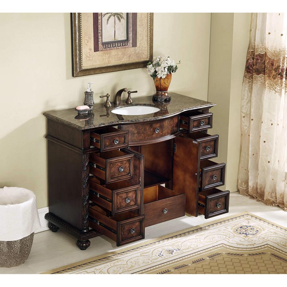 Stufurhome 48 Quot Amelia Single Sink Vanity With Baltic Brown Granite Top Dark Brown Free
