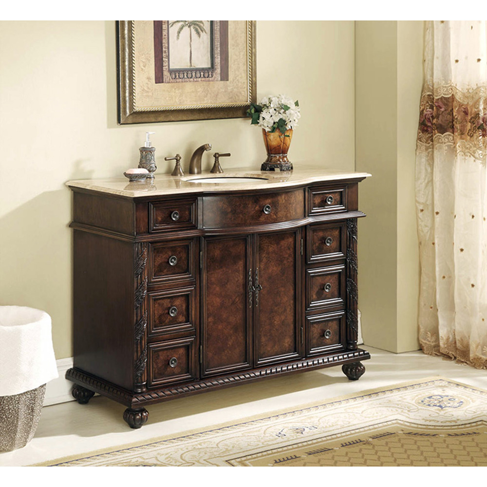 Stufurhome 48 Quot Amelia Single Sink Vanity With Travertine Marble Top Dark Brown Free Shipping