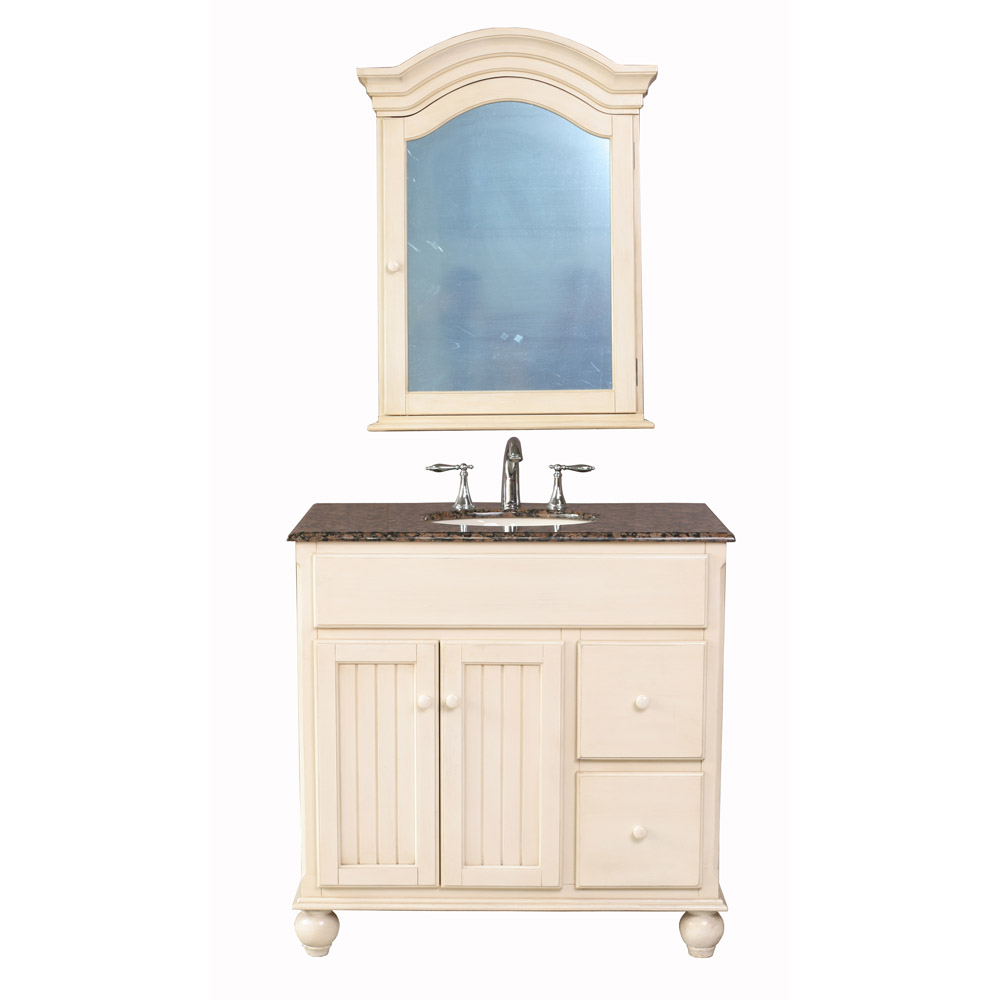 Stufurhome 36 snow white single sink vanity with baltic for Bathroom 36 vanities