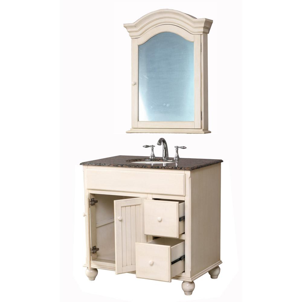 Stufurhome 36 snow white single sink vanity with baltic - Bathroom mirror ideas for single sink ...